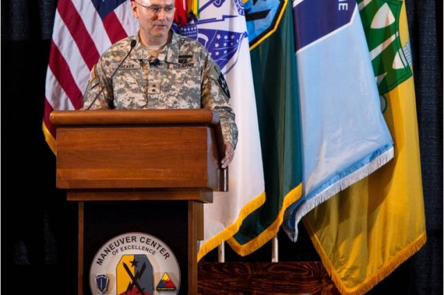 There are enormous efficiencies within a modular unit, Maj. Gen. Michael Tucker, 2nd Infantry Division commanding general, said.  Tucker shared with attendees how the division effectively incorporates elements of virtual, constructive and gaming into live training; making it more effective for their Soldiers. It provides efficiencies and enables Soldiers to face many of the similar challenges they find on today's modern battlefield.