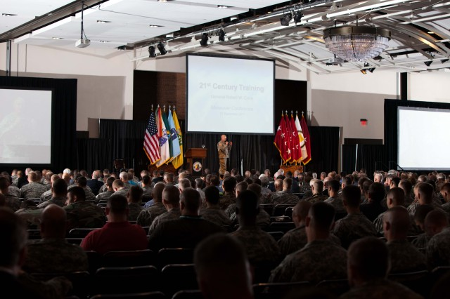 Gen. Bob Cone, TRADOC Commanding General, provides the keynote address during the 2011 Maneuver Conference.