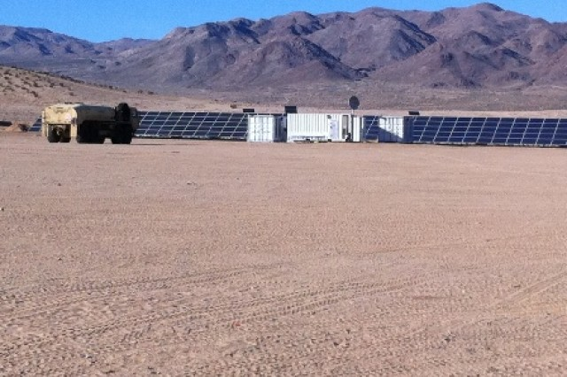"""The Project Manager for Mobile Electric Power (PM MEP) has installed the Army's first microgrid in Afghanistan. The microgrid is pictured at the National Training Center at Fort Irwin, Calif. prior to deployment. A microgrid consists of """"smart"""" generators that link with one another to intelligently manage the power supply and operate at peak efficiency."""
