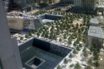 A view of the both reflecting pools at the National September 11 Memorial at ground zero in New York.