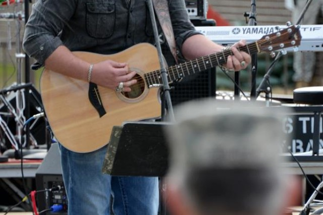 """Lee Brice, country music singer and Sumter native, performs his hit song, """"Love Like Crazy,"""" during last week's ribbon-cutting ceremony."""