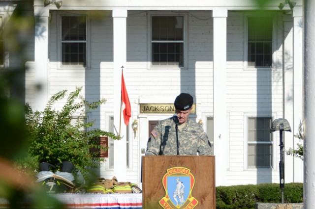 Maj. Gen. James Milano, Fort Jackson's commanding general speaks during the ceremony Friday in front of Post Headquarters.