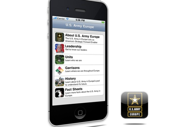 The application, or app, puts key elements of the USAREUR website in users' hands wherever they are.