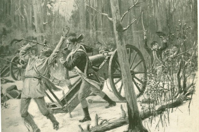 A painting that accompanied Theodore Roosevelt's article on Major General Arthur St. Clair's defeat and was featured in the February 1896 issue 'Harper's New Monthly Magazine,' shows American Soldiers engaged in hand-to-hand combat with Chief Little Turtle's warriors sometime around the November 4, 1791 battle.