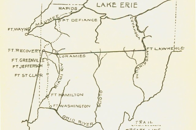 A map of the Northwest Territory showing the various forts and rivers in what is now present-day Ohio.  The American Army had begun to wrest control of the territory from the British and its various Indian allies in the decade after the U. S. victory of the Revolutionary War.