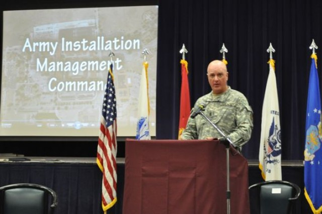 IMCOM Command Sgt. Maj. speaks during a press conference on BRAC 2005 success in San Antonio.
