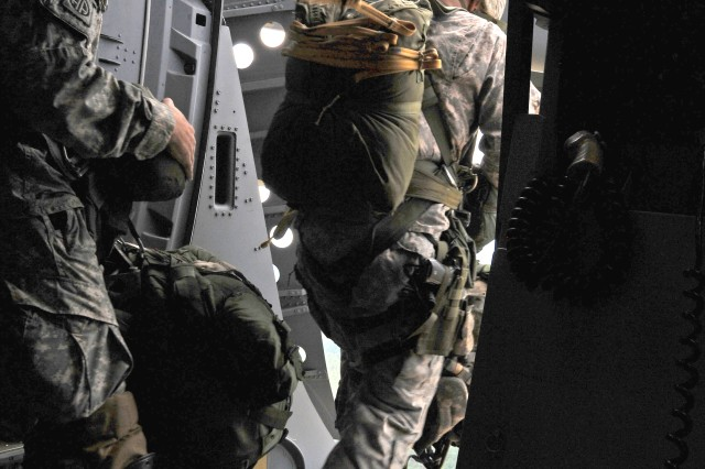 U.S. Army paratroopers jump from a C-17 aircraft during a Joint Operational Access Exercise Sept. 10 at Fort Bragg, N.C.