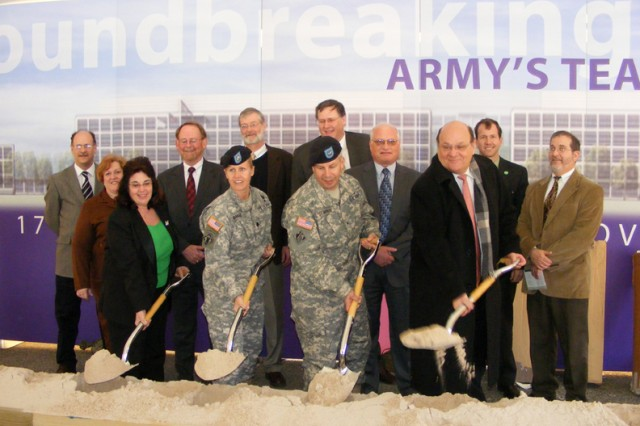 Former North Atlantic Division Commander Brig. Gen. Todd T. Semonite and former Philadelphia District Commander Lt. Col. Gwen Baker, along with members of the C4ISR Project Delivery Team, break ground on the C4ISR Campus in March 2008.