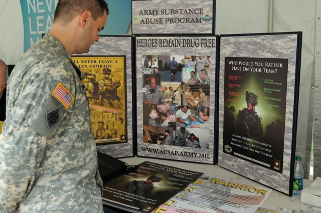 A Soldier checks out available resources at the Suicide Prevention Health Fair which ran Sept. 14-15, 2011, at the Pentagon.