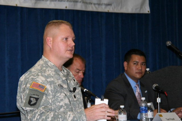 Lt. Col. Gregory Coile, product manager for Satellite Communications, assigned to Project Manager Warfighter Information Network-Tactical, hosted one of the panels during the fourth annual Army Commercial Satellite Communications Users' Workshop at the Tampa Convention Center, Tampa, Fla. on Aug. 22. (U.S. Army photo by Amy Walker)