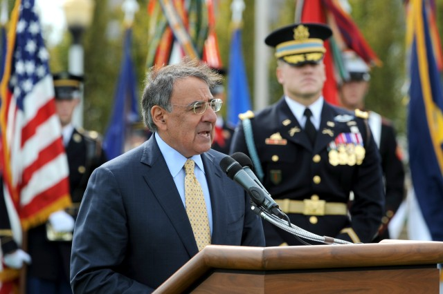 Defense Secretary Leon E. Panetta addresses the audience at the Pentagon's annual observance of National POW/MIA Recognition Day, Sept. 16, 2011.