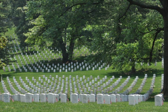 Each grave in Arlington Cemetery was decorated with an American Flag on Memorial Day.