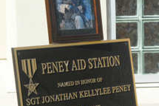 The Peney Aid Station at Camp Rogers was dedicated Friday in honor of Sgt. Jonathan Peney, a Ranger-qualified combat medic killed in action June 1, 2010. Peney was assigned to 1st Battalion, 75th Ranger Regiment.