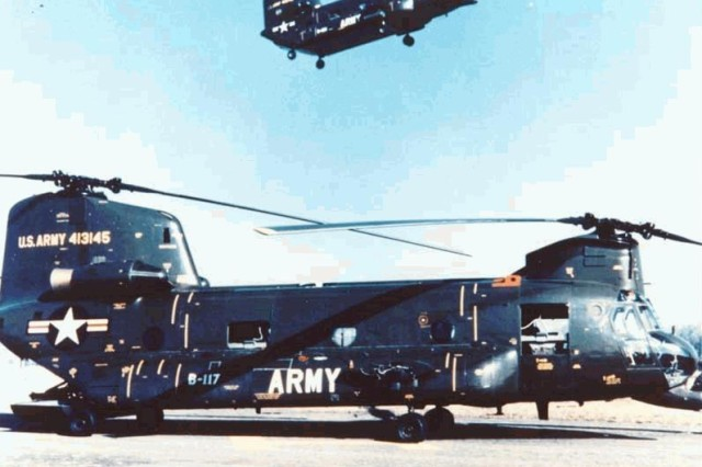 This stock photo shows the CH-47A model, the first Chinook helicopter manufactured in 1961. The Chinook took flight for the first time on Sept. 21, 1961, and the U.S. Army took delivery of the aircraft in August 1962. The aircraft has been used heavily since the Vietnam War for military and humanitarian missions as a cargo and personnel transporter.