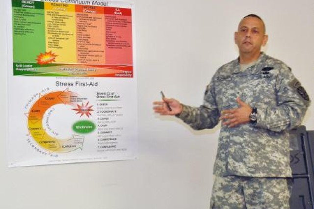 Brig. Gen. Alberto C. Gonzalez, Arizona National Guard assistant adjutant general-Army, shares his personal experiences regarding stress injuries with the first Comprehensive Soldier Fitness/Comprehensive Airman class to be held in Arizona. Gonzalez spoke of the need to identify and recognize the characteristics of a stress injury and take the appropriate action.