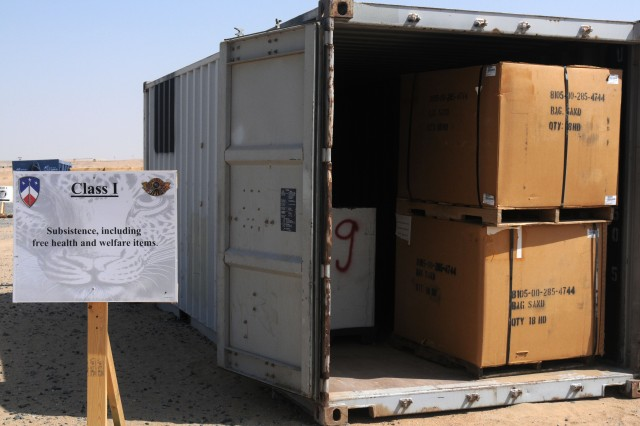A container in the Four Corners site at Camp Virginia, Kuwait, is ready to receive equipment. After the container is full, it will be moved into a staging area, where it will join other containers ready to ship to Camp Arifjan for processing.