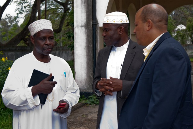 Chaplain (Maj.) Dawud Agbere (center), U.S. Army Central, and Master Sgt. Carlos Clausel (right), U.S. Army Africa, speak with Sheik Fadhili Suleiman Soraga, secretary to the Mufti of Zanzibar, after a TV Zanzibar interview and discussion Sept. 15 in Zanzibar, Tanzania.