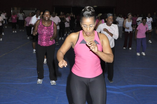 Participants dance to the beat as they do Zumba during Saturday's event.