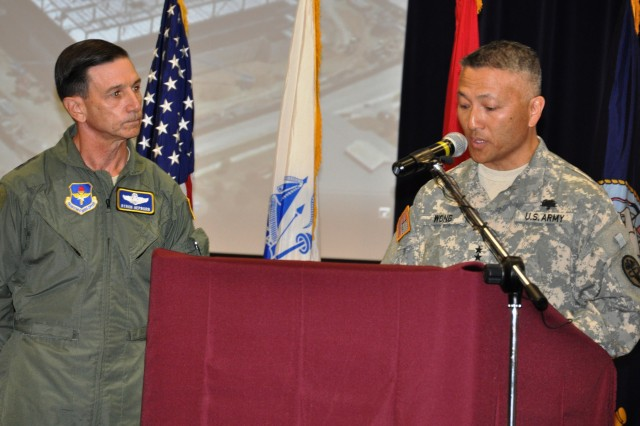 Maj. Gen. M. Ted Wong, commanding general, Southern Regional Medical Command and Brooke Army Medical Center and Maj. Gen. Byron Hepburn, commanding general, 59th Medical Wing address the media Sept. 14, 2011, at Fort Sam Houston, Texas, regarding the completion of the 2005 Base Realignment and Closure recommendations.