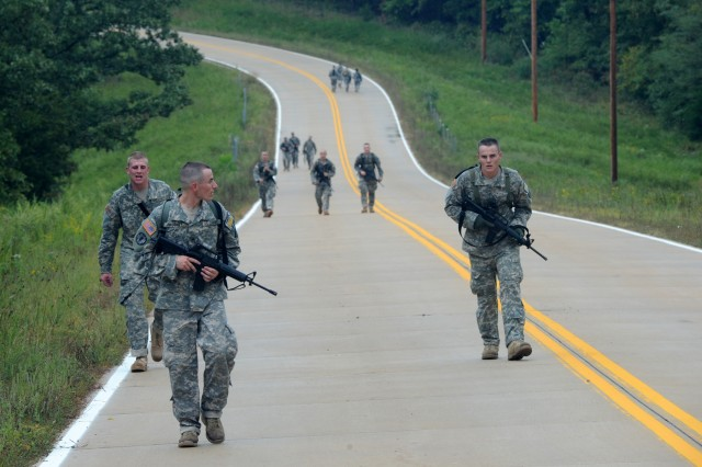 Teams were often required to walk long distances between events, such as here, during the 2011 Warfighter Competition at Fort Leonard Wood, Mo., Sept. 18-21, 2011.