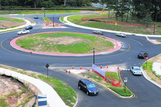The traffic roundabout installed east of Pence Gate helps keep traffic moving when utilized properly by motorists.