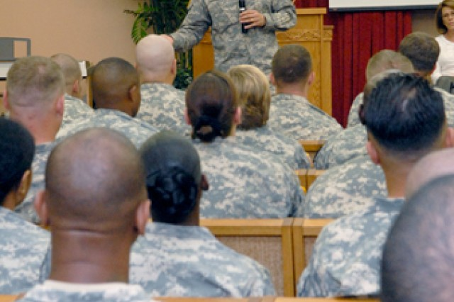 Sgt. Maj. of the Army Raymond Chandler III speaks to Soldiers and spouses about upcoming changes in the U.S. Army, at AMR chapel, Monday.