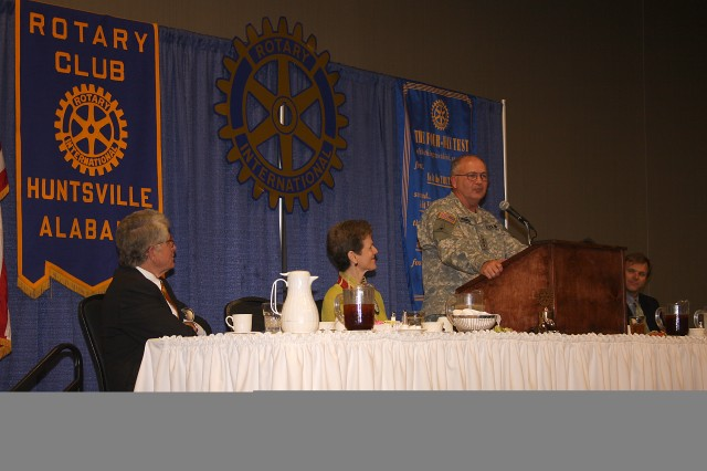 Lt. Gen. Richard P. Formica, U.S. Army Space and Missile Defense Command/Army Forces Strategic Command commanding general, speaks to the Huntsville Rotary Club on Sept. 20. Formica praised the Rotary Club for what it does in the local, national and international communities. The Rotary Club is an organization whose goal is to bring together business and professional leaders to provide humanitarian service, encourage high ethical standards in all vocations and help build goodwill and peace in the world.