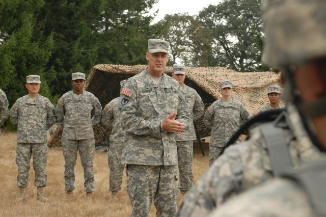 JOINT BASE LEWIS-MCCHORD, Wash. (Sept. 22, 2011) - Brig. Gen. John R. O'Connor, FORSCOM Deputy Chief of Staff G4, speaks to the 542nd Supply Maintenance Company, 80th Ordnance Battalion, 593rd Sustainment Brigade, just before recognizing the company's Philip A. Connelly field kitchen team for winning the ForsCom level of the competition.  The team will compete at the Dept. of the Army level later this year. (Photo by Sgt. Kendra McCurdy)