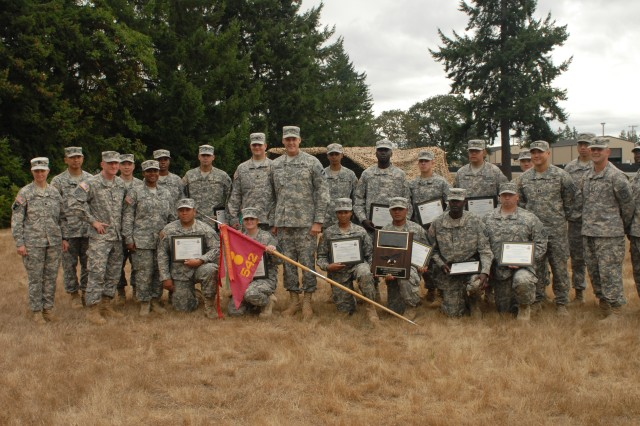 JOINT BASE LEWIS-MCCHORD, Wash. (Sept. 22, 2011) - Brig. Gen. John R. O'Connor, FORSCOM Deputy Chief of Staff G4, poses for a photo with the 542nd Supply Maintenance Company's Philip A. Connelly Awards Program field cooking team and the unit's commanders just after recognizing the team for winning the ForsCom level of the competition.  The team will compete at the Dept. of the Army level later this year. (Photo by Sgt. Kendra McCurdy)