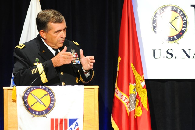 """Vice Chief of the Staff of the Army Gen. Peter Chiarelli said post-traumatic stress and traumatic brain injury are """"the signature wounds"""" of the wars in Iraq and Afghanistan. The general spoke Sept. 26, 2011, as a keynote speaker during the 2011 Defense Forum Washington seminar """"The Journey Back: Helping Wounded Warriors and their Families Transition."""""""