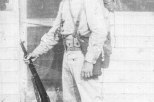 World War II Army Sgt. George H. Geffken was part of the 43rd Infantry Division of the National Guard.  His unit conducted basic training at Fort Blanding Fla. (photo retouched)