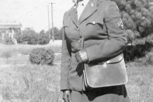 Mary Geffken served as part of the Women's Army Auxiliary Corps during World War II. Her husband, George H. Geffken, served as an infantryman in the Pacific, as part of the 43rd Infantry Division of the National Guard.  (photo retouched)