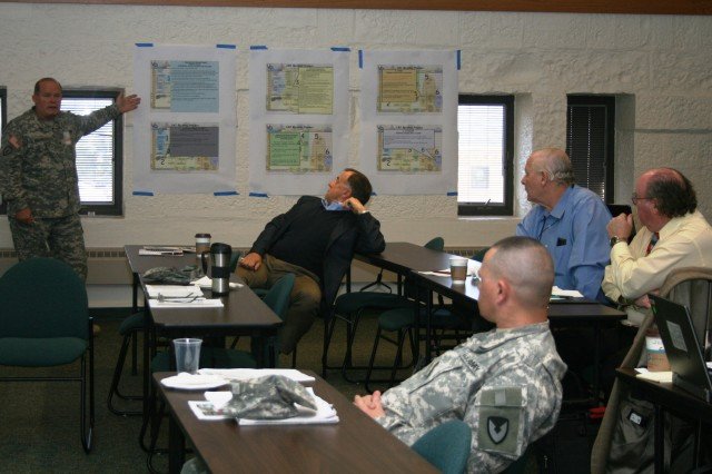 Col. Randy Rosenberg, DMC, explains the roles, responsibilities and permissions to be agreed during the Sept. 20-22 LMI working group. (Photo by Megan Marie McIntyre, ASC Public Affairs)