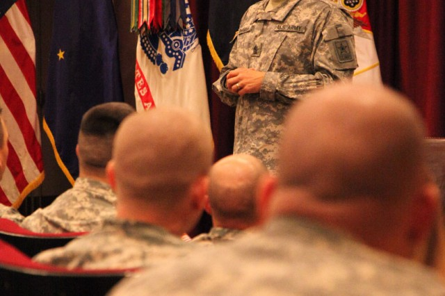 Sgt. Maj. of the Army Raymond F. Chandler III fields questions and concerns during a Sept. 22, 2011, town hall meeting with U.S. Army Alaska Soldiers at Fort Wainwright, Alaska.