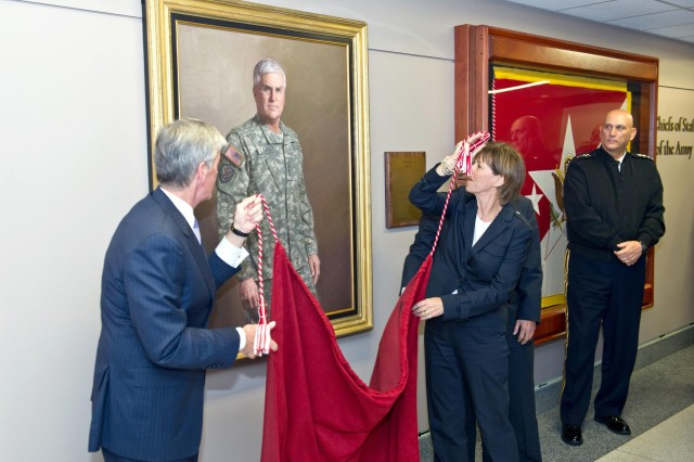 Retired Gen. George W. Casey Jr., former chief of staff of the Army, and his wife Sheila join John McHugh, secretary of the Army, to unveil Casey's portrait during a ceremony at the Pentagon, Sept. 27, 2011. In attendance was current Chief of Staff of the Army Gen. Raymond T. Odierno.
