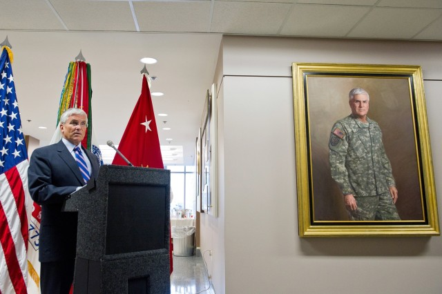 Retired Gen. George W. Casey Jr., former chief of staff of the Army, speaks during his portrait unveiling ceremony at the Pentagon, Sept. 27, 2011. Casey was accompanied by his wife Sheila, sons Sean and Ryan and other family members.