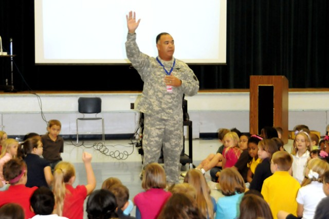 Maj. Gen. Anthony G. Crutchfield taught lessons on citizenship and patriotism at a presentation at Fort Rucker Elementary School Sept. 20.