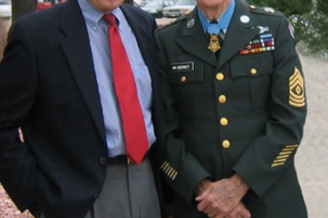 FORT CARSON, Colo. -- Retired Lt. Col. Rick Sauer, left, stands with 1st Sgt. David H. McNerney at a dedication ceremony at Fort Carson. Sauer met McNerney when he joined the Army in 1966. The two remained friends until McNerney's death Oct. 10.
