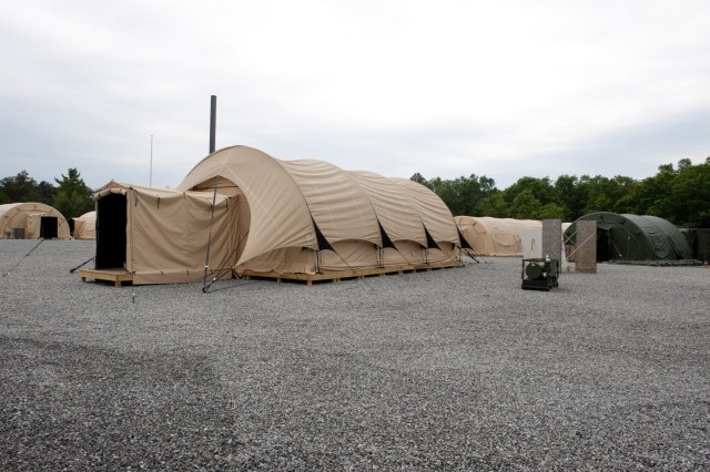The Force Provider base camp is built around 32-by-20-foot shelters composed of four inflatable air beams.