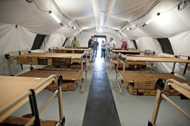 Each Force Provider base camp comes with everything 150 Soldiers need, including a kitchen.