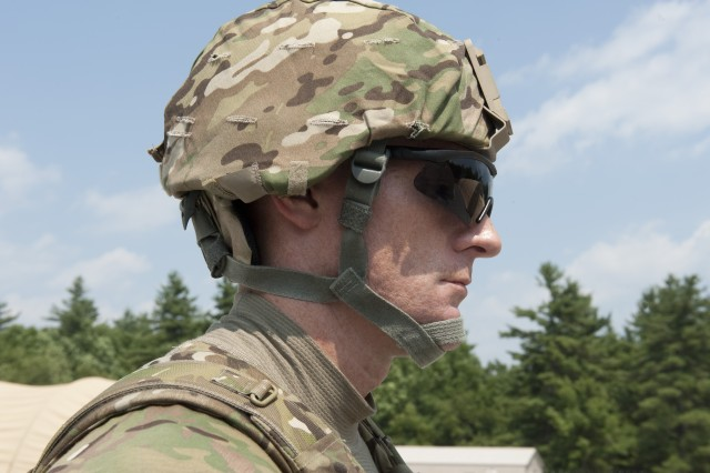 The Advanced Combat Helmet is a modular system that weighs less, fits better and is more comfortable than its predecessor. Modular, flame-retardant and moisture-resistant pads act as the suspension system between the wearer's head and the helmet. The cotton polyester chin strap, a four-point design, allows for quick adjustment and includes a new ballistic protective pad for the neck that adds ballistic protection between the bottom of the helmet shell and the top of the Interceptor Body Armor collar.