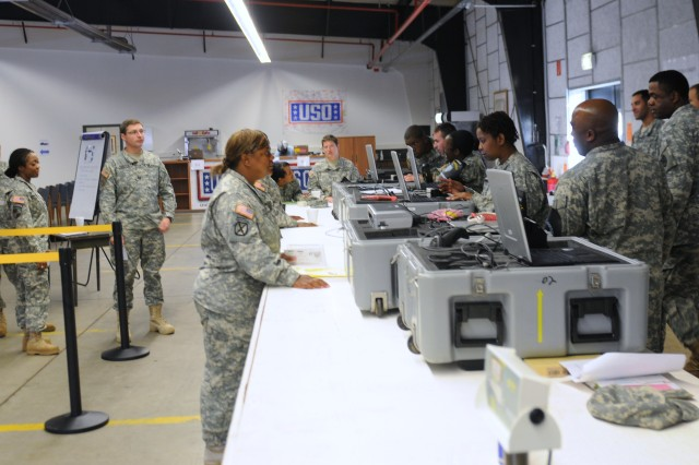 Soldiers of the 21st Theater Sustainment Command's, 1st Human Resources Sustainment Center, participate in the Evacuation Control Center training during the Rhinehorse Spirit exercise at Rhine Ordnance Barracks in Kaiserslautern, Germany, Sept. 27.