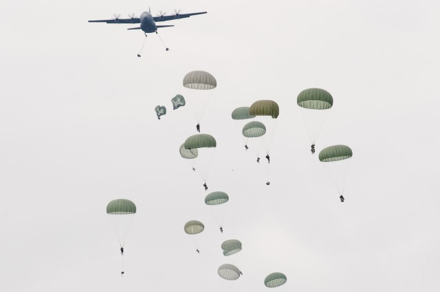 Paratroopers from the 173rd Airborne Brigade Combat Team jumped into the Drop Zone at Hohenfels Training Area, Germany, Oct. 6, 2011, for the U.S. Army in Europe's first full-spectrum training environment rotation. There are more than 7,500 participants from 17 countries participating in the large-scale training exercise, Oct. 3-24.