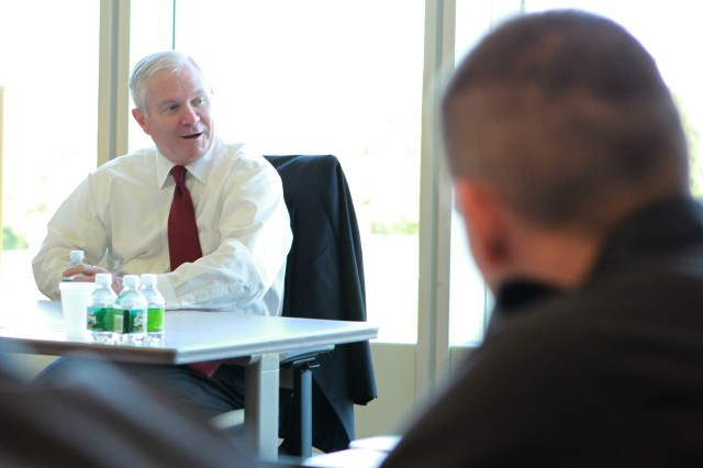 In previous visits to West Point, former Secretary of Defense Robert Gates has delivered the commencement speech to a graduating class, made a national address in front of the Corps of Cadets and lectured cadets in small classroom settings. The former CIA director and president of Texas A&M returned to the classroom again prior to receiving the Sylvanus Thayer Award on Oct. 6 Twenty-six cadets from the Classes of 2012 and 2013 majoring in Defense and Strategic Studies spoke with Gates during an informal Q&A session.