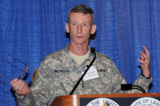 Lt. Gen. Howard B. Bromberg addresses a packed house at the Institute of Land Warfare's forum on the future of Army Force Generation: A total Army approach, Oct. 10, 2011, at the 2011 Association of the United States Army Annual Meeting and Exposition in Washington, D.C.