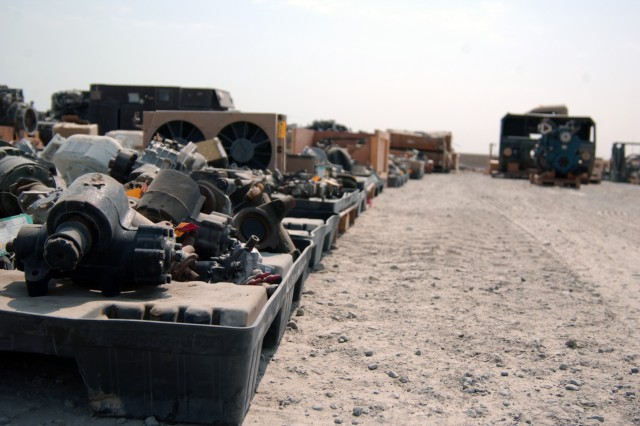 "More than 35,000 line items are sitting in the Theater Redistribution Center at the ""W2N"" yard on Camp Arifjan, Kuwait, at any one time. Shipping containers, which arrive primarily from Iraq as part of the responsible drawdown of forces, are placed into processing lanes where personnel inspect, unload, sort, and process the contents back into their various commodities and enter it into the Army's supply system for reuse or refurbishment both in theater and back in the United States."