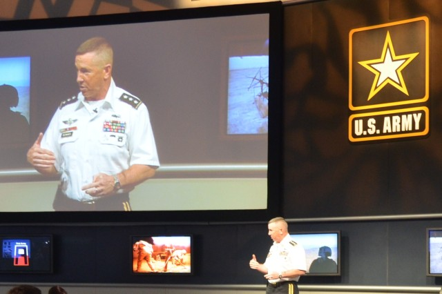 Lt. Gen. John Bednarek, commanding general of the First United States Army explains the capabilities of the Training Brain, Oct. 12 during the Fall 2011 AUSA Conference.