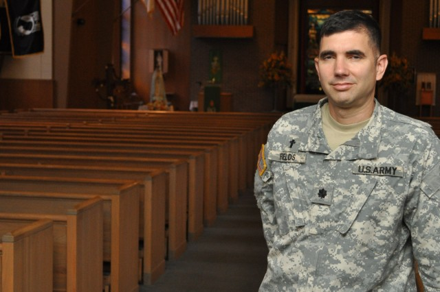 """Chaplain (Lt. Col.) Charles """"Chip"""" Fields stands ready to serve the ACC community."""