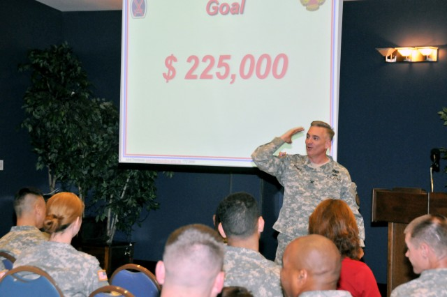 Col. Noel T. Nicolle, Fort Drum garrison commander, addresses Army personnel gathered on post during the 50th annual Combined Federal Campaign kick-off event.