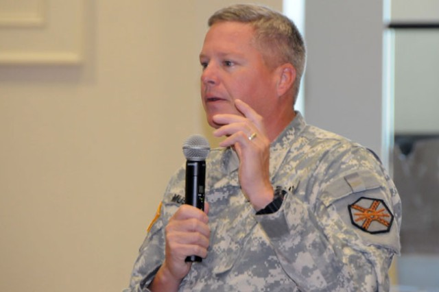Col. James A. Muskopf, Fort Rucker garrison commander, addresses the crowd last week during the installation's Army Family Action Plan Conference for the 2012 fiscal year.